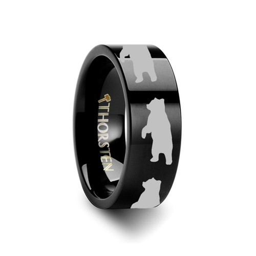 Apollodorus Bear Engraved Black Tungsten Wedding Band