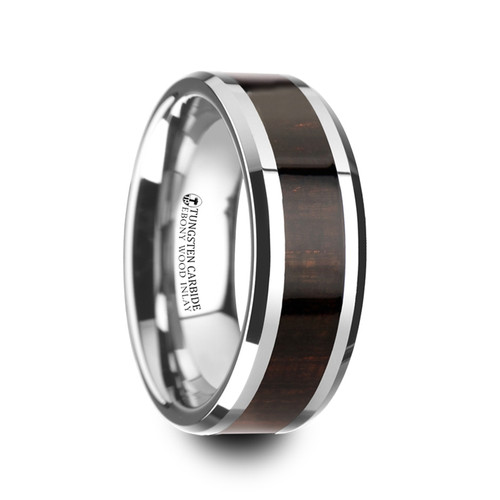 Alexandros Beveled Tungsten Carbide Wedding Band with Ebony Wood Inlay