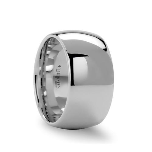 Aristophon Domed White Tungsten Carbide Men's Wedding Band