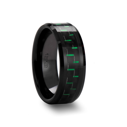 Claudius Ceramic Men's Wedding Band with Black & Green Carbon Fiber