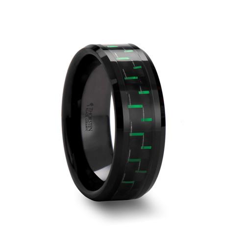 Claudius Ceramic Men's Wedding Band with Black & Green Carbon Fiber