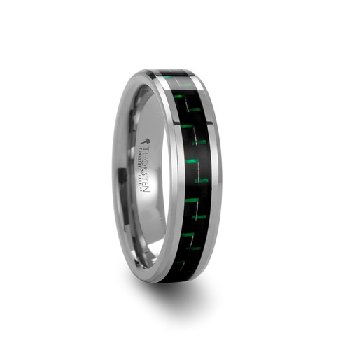 Ernest Tungsten Carbide Wedding Band with Black & Green Carbon Fiber Inlay