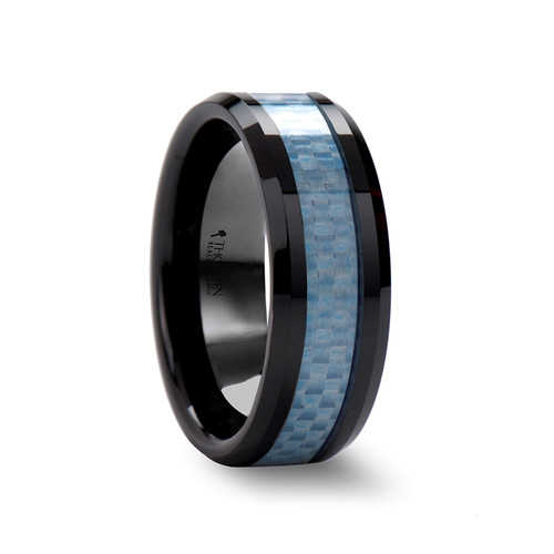 Eukles Beveled Black Ceramic Wedding Band with Blue Carbon Fiber Inlay