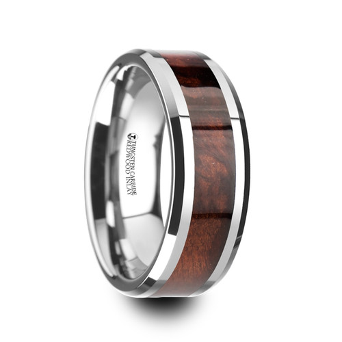 Aeschron Red Wood Inlay Tungsten Carbide Wedding Band with Bevels