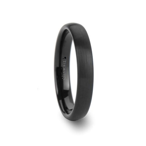 Clementina Round Brushed Black Tungsten Carbide Women's Wedding Band