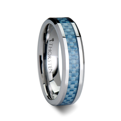 Tudors Tungsten Carbide Wedding Band with Blue Carbon Fiber Inlay