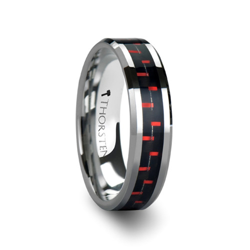Alaric Tungsten Carbide Wedding Band with Black & Red Carbon Fiber Inlay