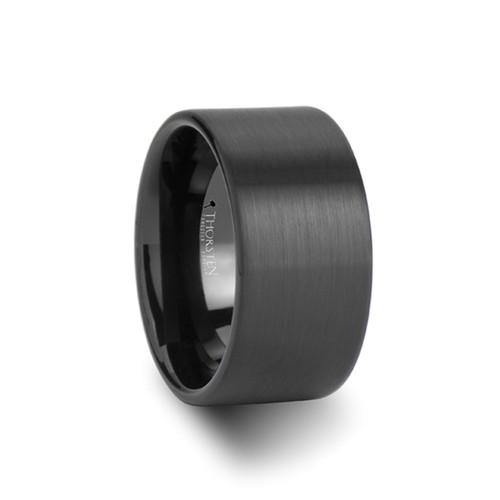 Pausiris Black Brushed Tungsten Carbide Men's Wedding Band