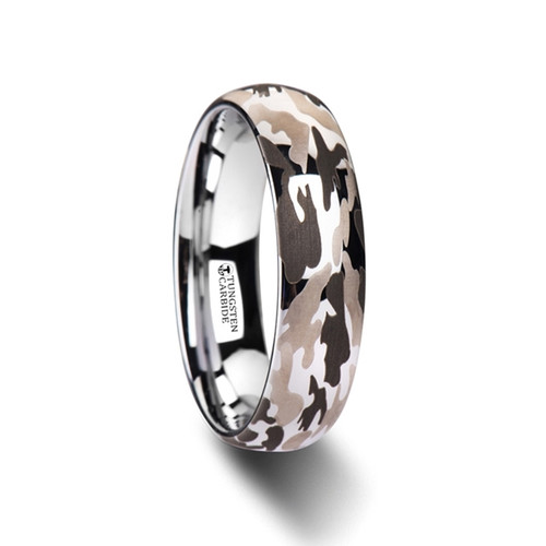 Timocles Domed Tungsten Carbide Wedding Band with Black & Gray Camouflage Pattern