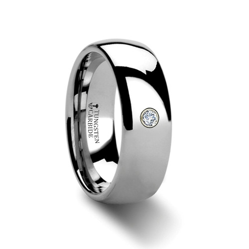 Carinus Rounded Tungsten Wedding Band with Diamond