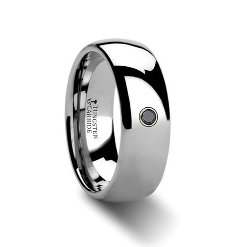 Dionysios Rounded Black Diamond Tungsten Carbide Wedding Band