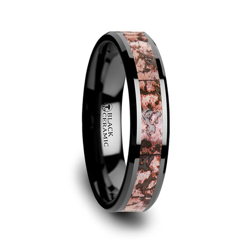 Frederick Pink Dinosaur Bone Inlay Black Ceramic Wedding Band