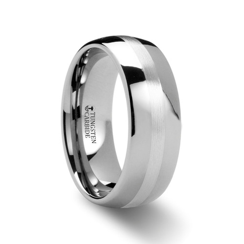 Rudolf Silver Inlay Domed Tungsten Wedding Band