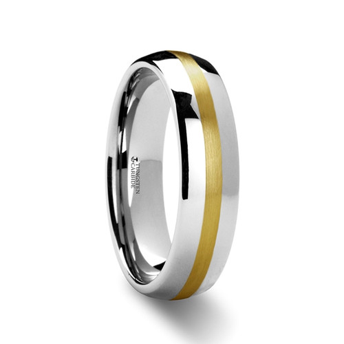 Nicias Rounded Tungsten Carbide Wedding Band with Gold Inlay