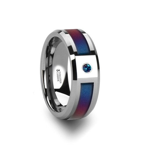 Erastus Tungsten Carbide Men's Wedding Band with Blue & Purple Color Changing Inlay and Alexandrite