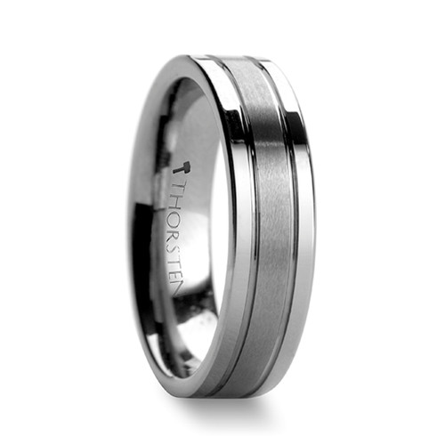 Mahanyod Tungsten Carbide Brushed Wedding Band with Grooves
