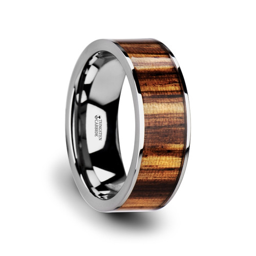 Aischines Tungsten Carbide Wedding Band with Real Zebra Wood Inlay