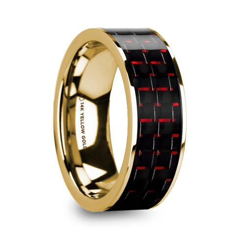 Mirian 14k Yellow Gold Wedding Band with Black & Red Carbon Fiber Inlay