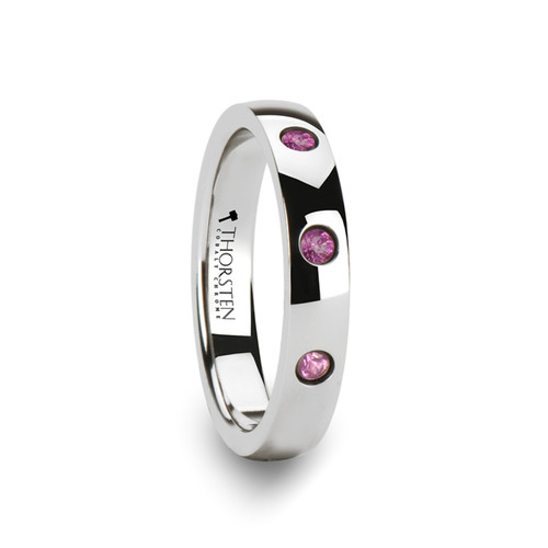 Seri Rounded White Tungsten Women's Wedding Band with 3 Pink Sapphires