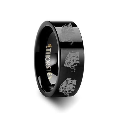 Arthur Mammoth Engraved Black Tungsten Wedding Band