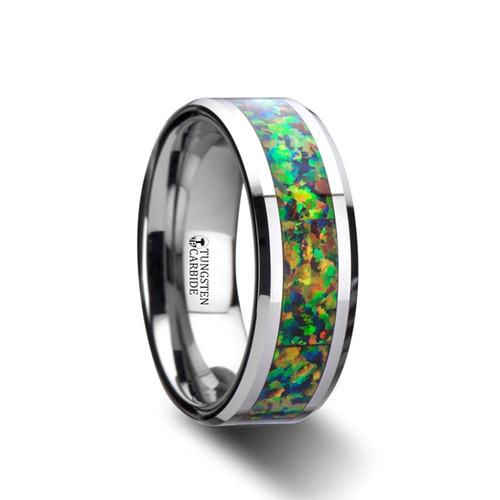 Urban Tungsten Carbide Men's Wedding Band with Blue & Orange Opal Inlay