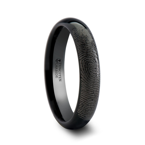 Nikauba Custom Fingerprint Engraved Domed Black Tungsten Wedding Band