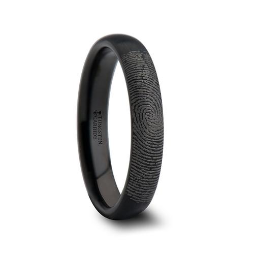 Henri Custom Fingerprint Engraved Domed Black Tungsten Wedding Band with Brushed