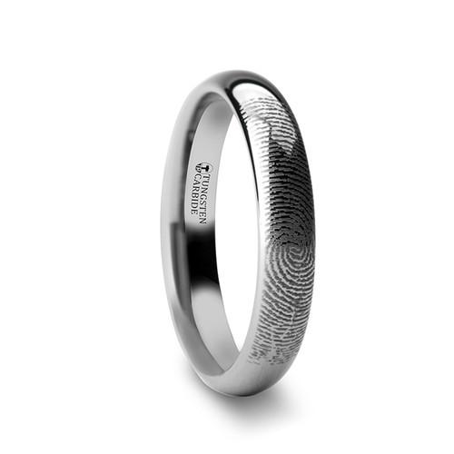 Girolamo Custom Fingerprint Engraved Domed Tungsten Wedding Band