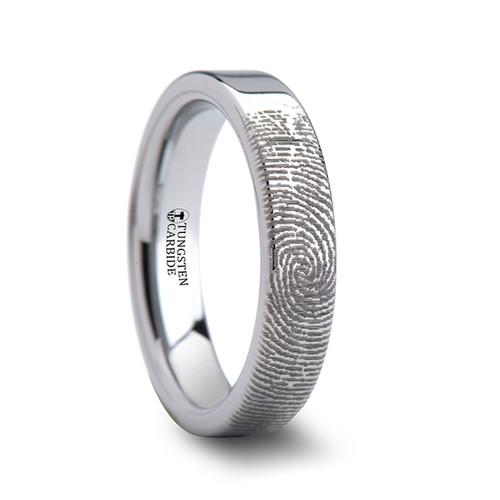 Aristides Custom Fingerprint Engraved Tungsten Wedding Band