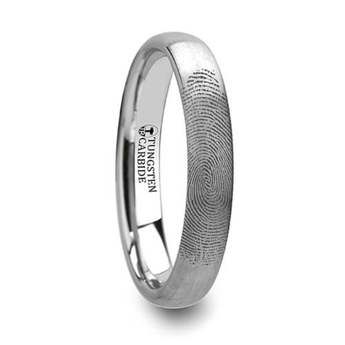 Leocrates Custom Fingerprint Engraved Domed Tungsten Wedding Band