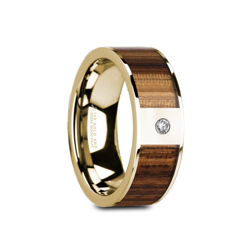 Magnus 14k Yellow Gold Men's Wedding Band with Zebra Wood Inlay & White Diamond