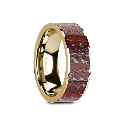 Cynegils 14k Yellow Gold Wedding Band with Red Dinosaur Bone Inlay