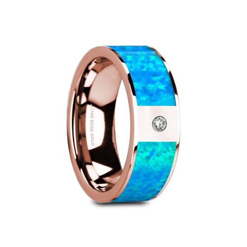Gaius 14k Rose Gold Wedding Band with Blue Opal Inlay & White Diamond