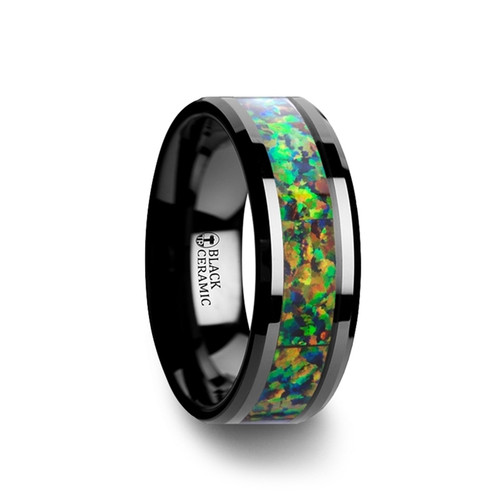 Leonidas Black Ceramic Wedding Band with Blue & Orange Opal Inlay