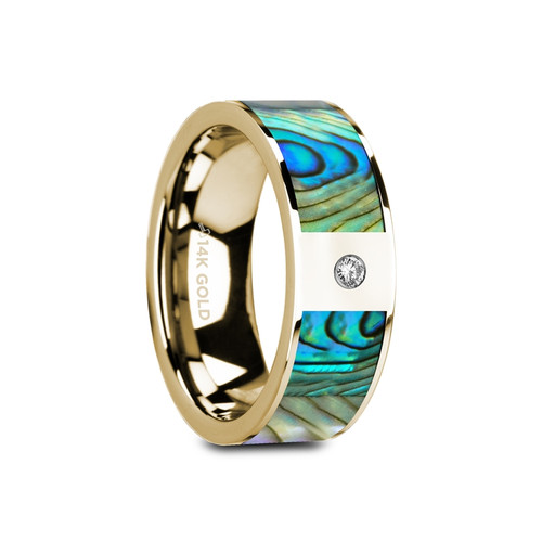Phaedon 14k Yellow Gold Wedding Band with Mother of Pearl Inlay & White Diamond