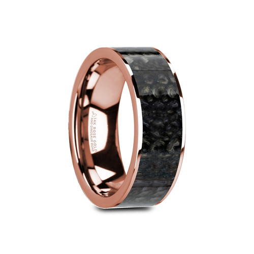 Dropides 14k Rose Gold Wedding Band with Blue Dinosaur Bone Inlay