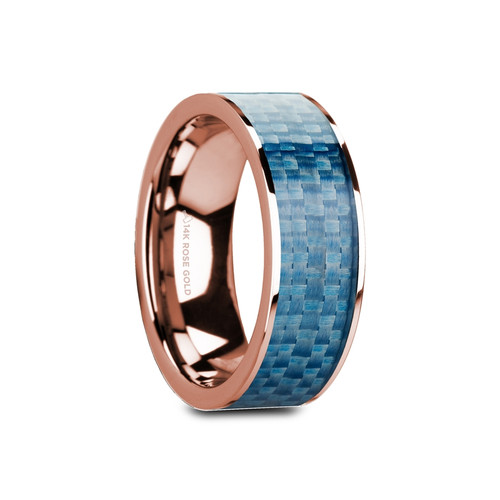 Berhtwulf 14k Rose Gold Men's Wedding Band with Blue Carbon Fiber Inlay