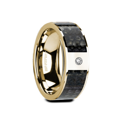 Ponhea 14k Yellow Gold Wedding Band with Blue Dinosaur Bone Inlay & White Diamond