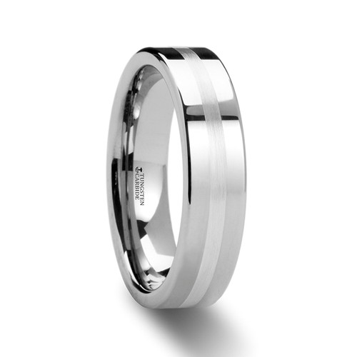 Xenon Tungsten Carbide Wedding Band with Silver Inlay