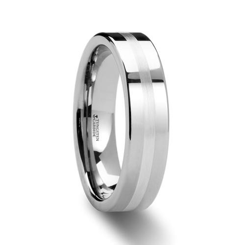 Xenon Tungsten Carbide Wedding Band with Silver Inlay