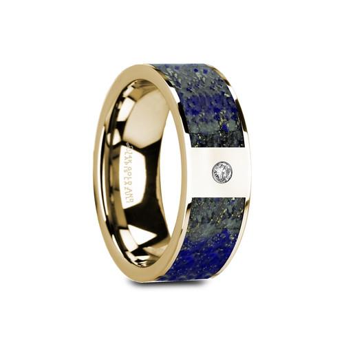 Amenrud 14k Yellow Gold Wedding Band with Blue Lapis Lazuli Inlay & White Diamond