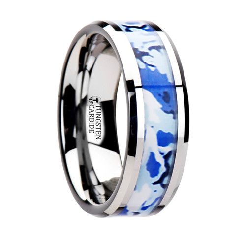 Amadeo Tungsten Wedding Band with Blue & White Camouflage Inlay