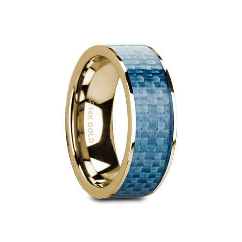 Merikare 14k Yellow Gold Wedding Band with Blue Carbon Fiber Inlay