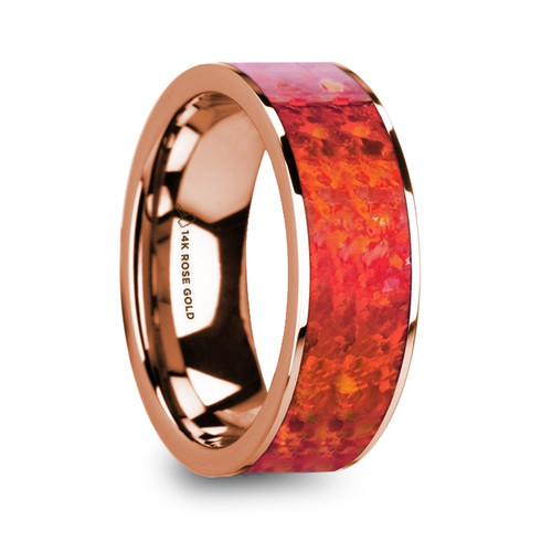 Isaac 14k Rose Gold Men's Wedding Band with Red Opal Inlay