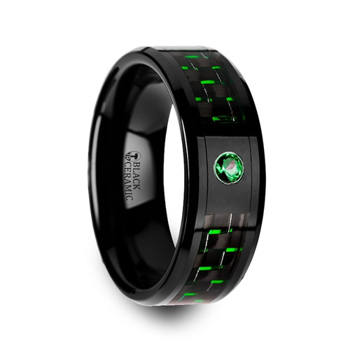 Lancastrians Black Ceramic Wedding Band with Black & Green Carbon Fiber Inlay and Green Emerald
