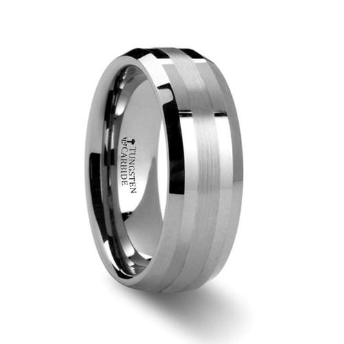 Alexias Platinum Inlay Tungsten Carbide Wedding Band