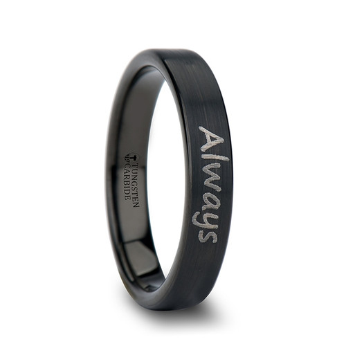 Thespius Handwritten Engraved Brushed Black Tungsten Wedding Band