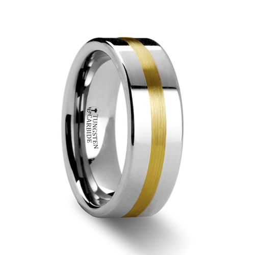 Patraus Gold Inlay Tungsten Wedding Band