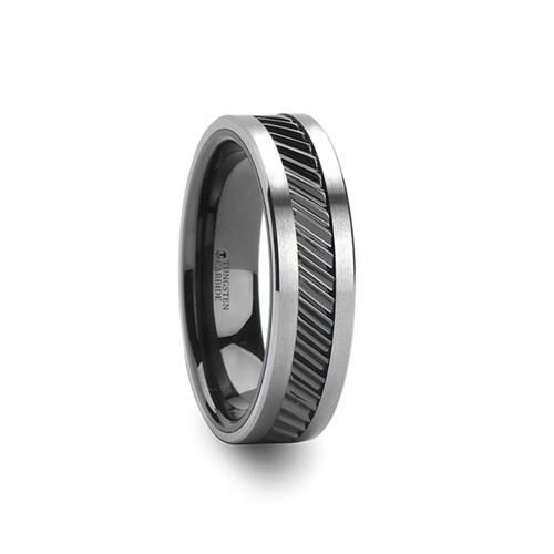 Antiphates Gear Teeth Pattern Black Ceramic and Tungsten Carbide Wedding Band