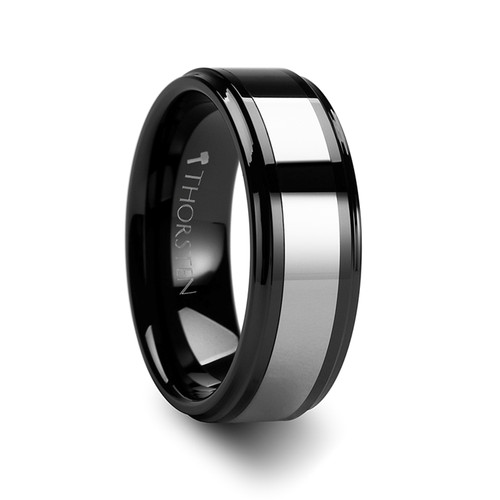 Burgred Raised Center Black Ceramic Wedding Band with Tungsten Inlay